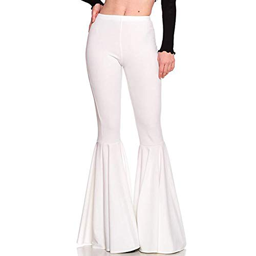 Womens Elastic Waist Skinny Fit Pants Flare Bottom Trousers S - Leggings Waist Elastic Flare