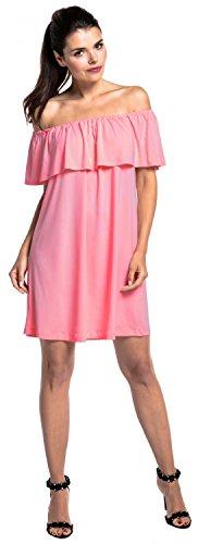 Zeta Ville - Vestido skater doble capa diseño cuello bardot - para mujer - 624z Polvo de Color Rosa