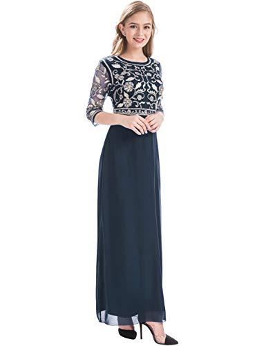 MANER Women Chiffon Beaded Sequin 3/4 Sleeve Long Gowns Prom Evening Bridesmaid Dress (XL, Dark Blue/Gold)