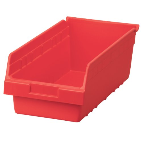 Akro-Mils 30088 ShelfMax Plastic Nesting Shelf Bin Box, 18-Inch L by 8-Inch W by 6-Inch H, Red, Case of 8