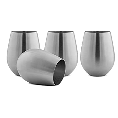 Modern Innovations Stainless Steel Stemless Wine Glasses, Set of 4, 18 Oz Made of Unbreakable BPA Free Shatterproof SS That Is Dishwasher Safe Great for Daily, Formal & Outdoor Use, Camping & Picnics