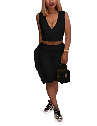 aaaf1648f64 Akmipoem Women s Ruffle Two Pieces Outfits Sleeveless V Neck Crop Tops and  Shorts Pants Set Tracksuit