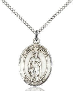 Sterling Silver St. Nathanael Pendant with 18 Stainless Steel Lite Curb Chain. Patron Saint of Cobblers/Nervous Diseases by F A Dumont