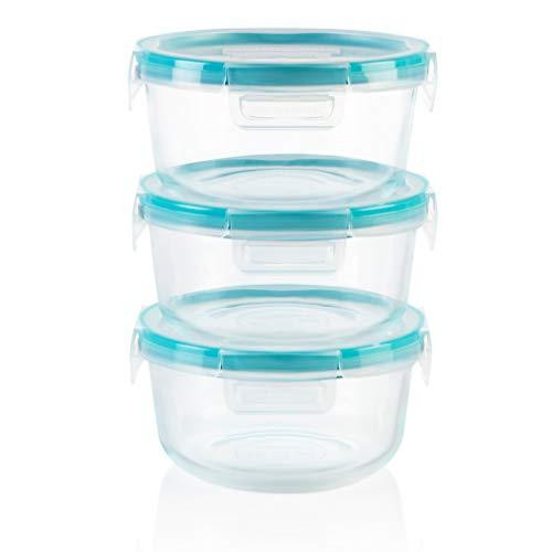 Snapware Total Solution Glass Food Storage Set (6-Piece, BPA Free Plastic Lids, Meal Prep, Leak-Proof)