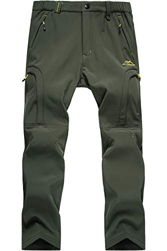 MAGCOMSEN Mens Mountain Pants Winter Pants Softshell Cargo Pants Waterproof Ski Pants Olive Green