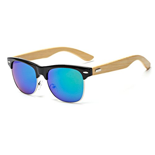 LOMOL Fashion Wooden Frame UV Protection Dazzle Color Lens Wayfarer - Versage Sunglasses