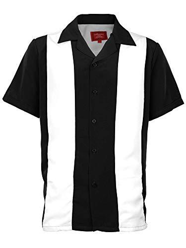 - Men's Retro Classic Two Toned Guayabera Bowling Shirt Casual Dress Shirt (White/Black, 5XL)