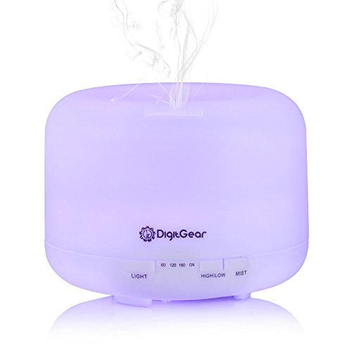 Essential Oil Diffuser - Aroma Diffuser Ultrasonic Whisper Quiet Cool Mist - Aromatherapy Humidifier with 7 Color Changing LED Lights - Auto Shut Off for Home and Office - BPA Free (500ml)