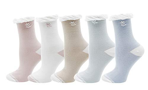 Lovful Lady's Frilly Novelty Elastic Socks Leaf Print Cotton Crew Socks 5 Pairs, Leaf Style