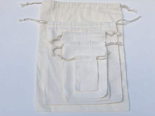 d76cf16585f BigLotBags Cotton Double Drawstring Muslin Bag. 100% Organic Cotton. Pack  of 100 (