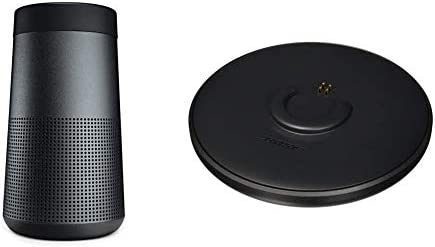 The Bose SoundLink Revolve, the Moveable Bluetooth Speaker with 360 Wi-fi Encompass Sound, Triple Black & Bose SoundLink Revolve Charging Cradle Black