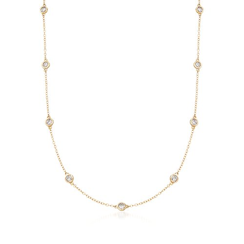 Ross-Simons 1.00-2.00 ct. t.w. Bezel-Set Diamond Station Necklace in 14kt Yellow Gold ()