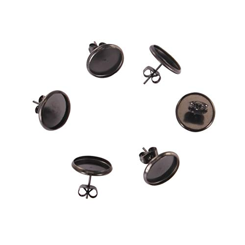 SHUNAE 20pcs Stainless Steel Black Color cabochon Earring Base Blanks 12mm DIY Stud Post Earrings Settings with Backs (Black)