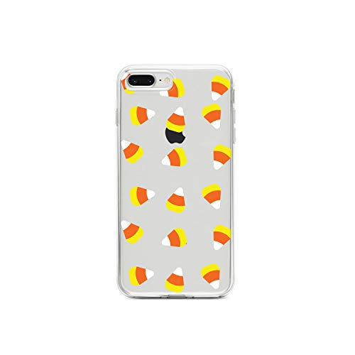 DistinctInk Clear Shockproof Hybrid Case for iPhone iPhone 7 Plus / 8 Plus - TPU Bumper, Acrylic Back, Tempered Glass Screen Protector - Repeating Candy Corn