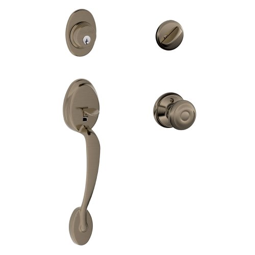 Schlage Plymouth Single Cylinder Handleset and Georgian Knob, Antique Pewter (F60 PLY 620 GEO)