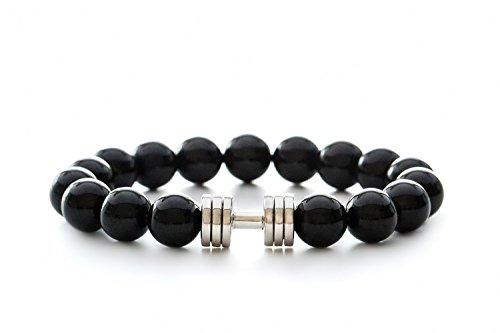 (Onyx Dumbbell Bracelet Rhodium Plated Fitness Gym Jewelry Beaded Bracelet)