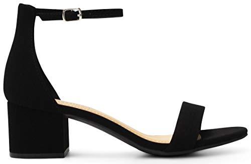 Women's Open Toe Ankle Strap Chunky Block Stacked Heels Dress Sandals - (Black Nubuck) - 8