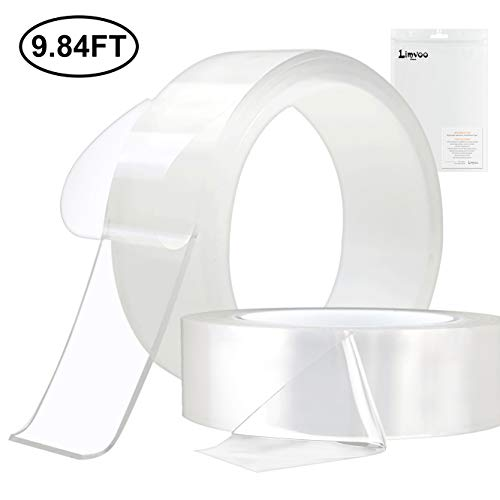 Limvoo Washable Adhesive Tape nanoTape 5M/16.5Ft,The Reusable Adhesive Silicone Tape,Free to Remove, Reusable Traceless,Stick to Glass, Metal, Kitchen Cabinets or Tile Nano Tape (Transparent, 2mm)