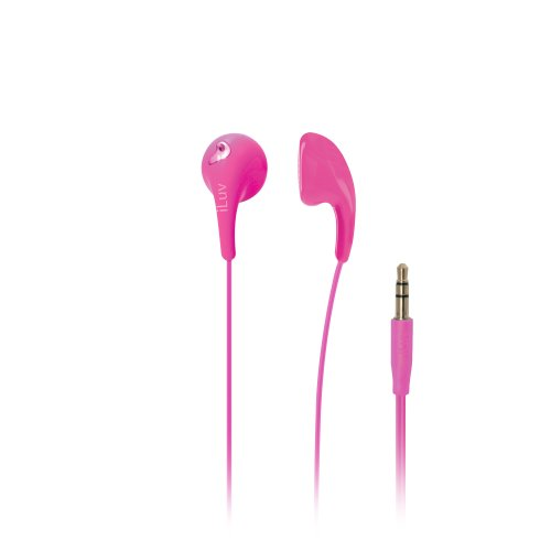 Bubble Gum 2 by iLuv – Flexible Jelly-Type Stereo Earphones - Compatible with iPhone,iPad,Smartphones and Tablets (Pink) -