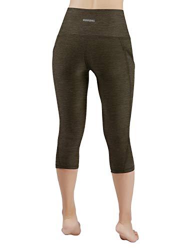 247cc2e1a1a794 ODODOS High Waist Out Pocket Yoga Capris Pants Tummy Control Workout  Running 4 Way Stretch Yoga