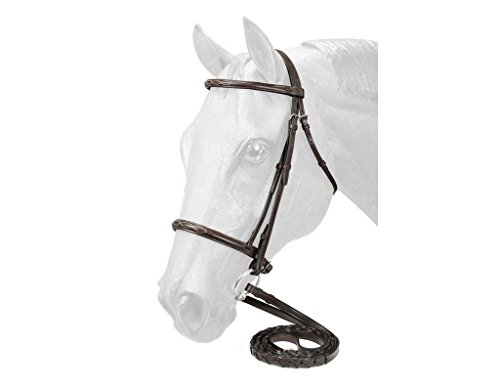 (EquiRoyal Fancy Stitched Raised Snaffle Bridle - Brown - Full)