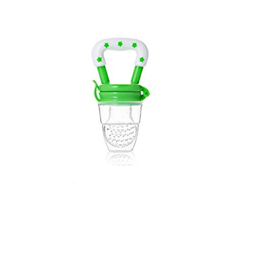 NEW! 1 Pcs Portable Infant Food Baby Nipple Feeder Silicone Pacifier Fruits Feeding Supplies Soother Nipples Soft Baby Feeding Tool Bebe (L, Green) (Bottle Food Feeder Sassy Baby)