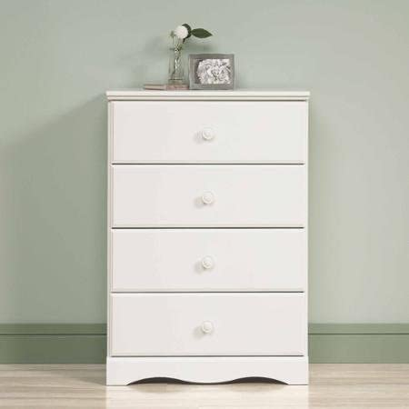 BLOSSOMZ Sauder Storybook 4-Drawer Chest, Soft White, Drawers with Metal Runners and Safety Stops Soft White