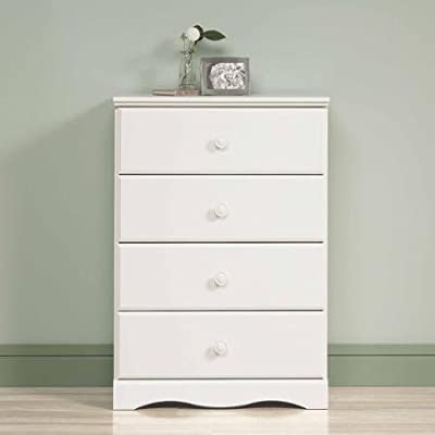 """BLOSSOMZ Sauder Storybook 4-Drawer Chest, Soft White, Drawers with Metal Runners and Safety Stops (Soft White) - Drawers storage chest with metal runners and safety stops feature patented T-slot assembly system Dimensions: 29.25""""W x 16.25""""D x 42.13""""H 5-year limited warranty - dressers-bedroom-furniture, bedroom-furniture, bedroom - 31XDnN4SROL. SS400  -"""