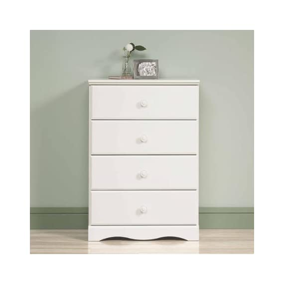 "BLOSSOMZ Sauder Storybook 4-Drawer Chest, Soft White, Drawers with Metal Runners and Safety Stops (Soft White) - Drawers storage chest with metal runners and safety stops feature patented T-slot assembly system Dimensions: 29.25""W x 16.25""D x 42.13""H 5-year limited warranty - dressers-bedroom-furniture, bedroom-furniture, bedroom - 31XDnN4SROL. SS570  -"