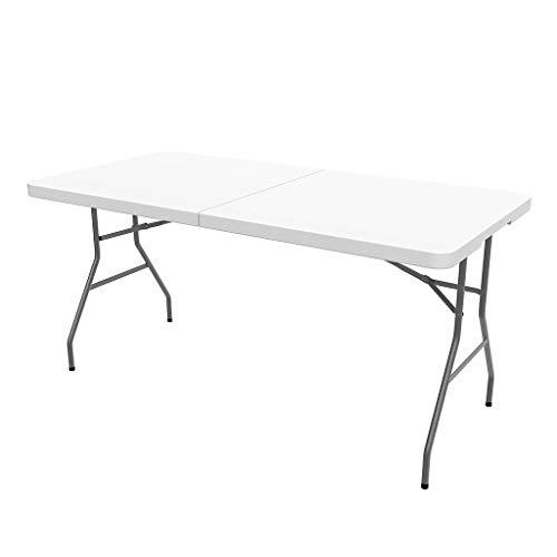 Todeco - Mesa Plegable Portatil, Mesa de Plastico Resistente - Material: HDPE - Carga maxima: 100 kg - 152 x 76 cm, Blanco, Plegable por la mitad