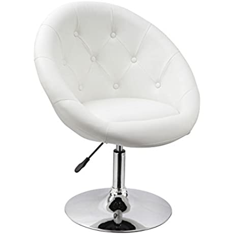 Duhome Elegant Contemporary Synthetic Leather Accent Chair Tufted Round Back Adjustable Swivel Cocktail Chair White