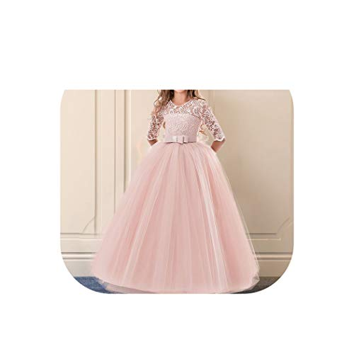 Girls Dress for Exquisite Pink Long Lace Tulle Wedding Dresses Teens Kids Graduation Costume Girl Childrens Clothing,Pink 1,14 ()