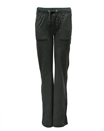 Ladies Charcoal Long Drawstring Pocket Sweat Pants