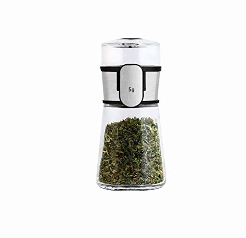 Control Bottle Glass Jars,Stainless Steel Spice Jars,5g Metering Salt Pepper Sugar Kitchen Storage Containers Nice Design for Kitchen