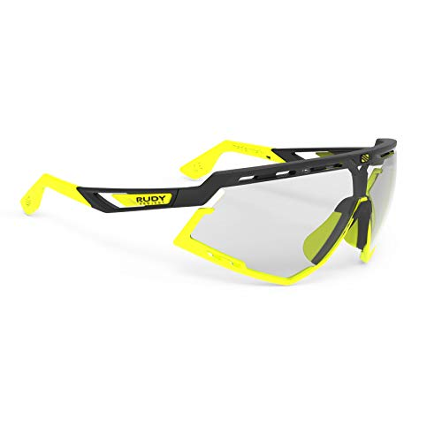 Rudy Project Photochromic - Rudy Project Defender Sports Cycling Sunglasses - Matte Black/Fluorescent Yellow Frame - ImpactX-2 Photochromic Clear to Black Lenses
