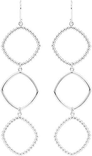 Triple Square Shaped Dangle Earrings in Sterling Silver