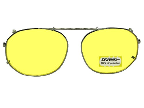 Round Square Yellow NON Polarized Clip On Sunglasses (Pewter-NON Polarized Yellow Lens, 50mm Width x 38mm - On Sunglasses Non Clip Polarized
