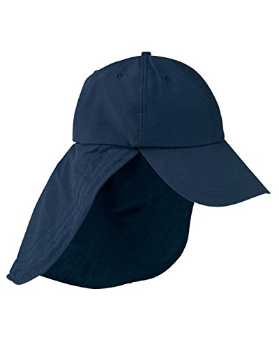 6-Panel Low-Profile Cap with Elongated Bill and Neck Cape - NAVY - OS