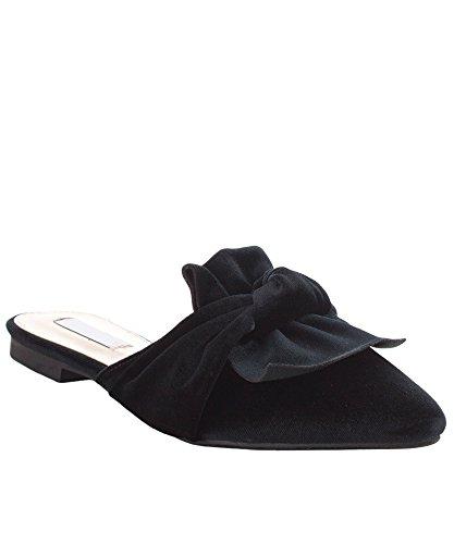 ROF Women's Fashion Velvet Slip On Pointy Toe Bow Decor Slide Slipper Loafer Flats BLACK (9)