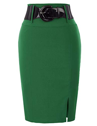 - Belle Poque Knee Length Office Skirt Pencil Skirt Tummy Control Small, Green(bp762)
