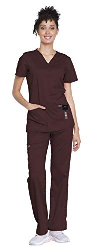 (Cherokee Workwear Revolution Women's Medical Uniforms Scrubs Set Bundle - WW620 V-Neck Scrub Top & WW110 Elastic Waist Scrub Pants & MS Badge Reel (Espresso - Large/Large))