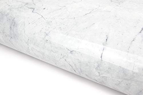 White Grey Granite Look Marble Effect Interior Film Vinyl Self Adhesive Peel-Stick (VBS731 : 1.64 Feet X 9.84 Feet)