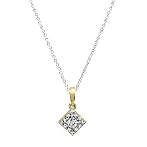 Dazzlingrock Collection 0.25 Carat (ctw) 10K Round Diamond Ladies Vintage Square Pendant 1/4 CT, Yellow Gold ()