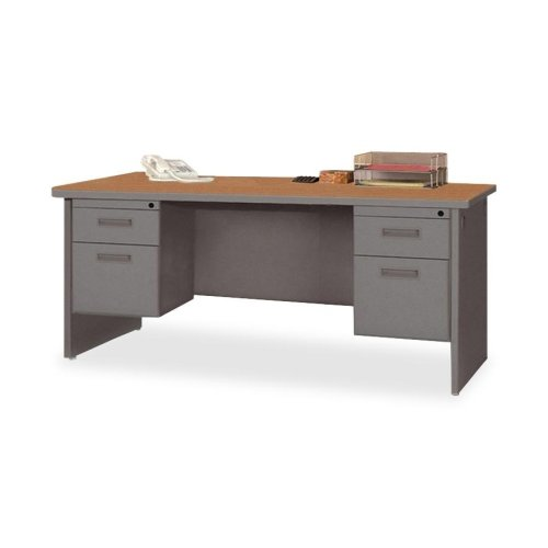 Lorell Double Pedestal Desk, 72 by 36-Inch, Cherry/Charcoal - Radius Edge Double Pedestal Desk