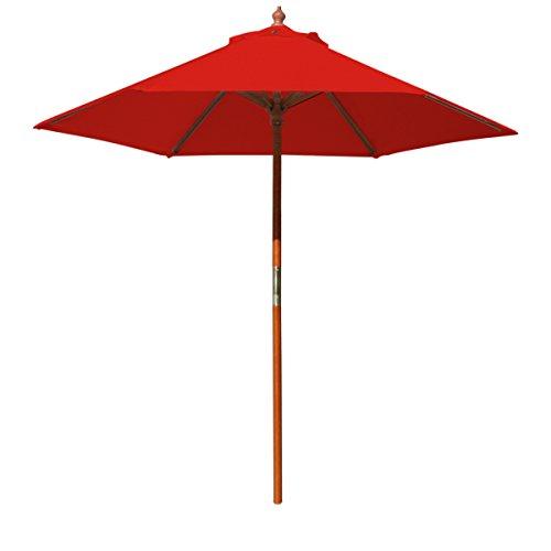 Above All Advertising, Inc. 7' Brolliz Round Umbrella, Wood (Red) 7 Wooden Market Umbrella