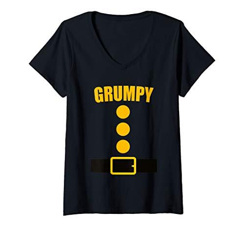 Halloween Ideas For Ladies (Womens Dwarf Costume T-Shirt - Funny Halloween Gift Idea - Grumpy V-Neck)
