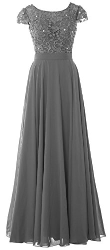 MACloth Women Cap Sleeve Mother of Bride Dress Vintage Lace Evening Formal Gown (6, Gray) by MACloth