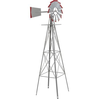 8ft. Ornamental Garden Windmill - Galvanized with Red Tips