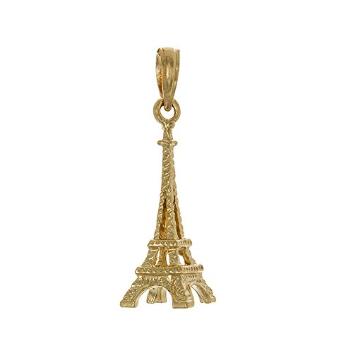 14k Yellow Gold 3-D French Eiffel Tower Charm Pendant, Paris France