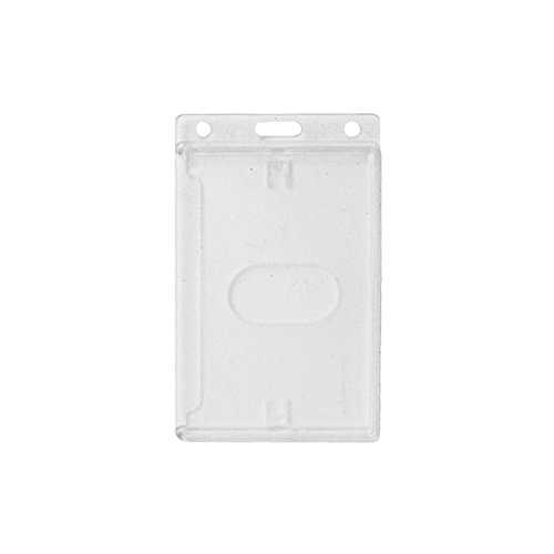 Rigid Hard Plastic ID Access Credential Badge Holder - Vertical - Frosted - 50 Per Pack - 1840-6500